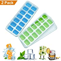 Ice Cube Moulds, Silicone Ice Cube Trays 2 Pack with Removable lids,Easy-Release and Flexible 28 ice Cube Molds