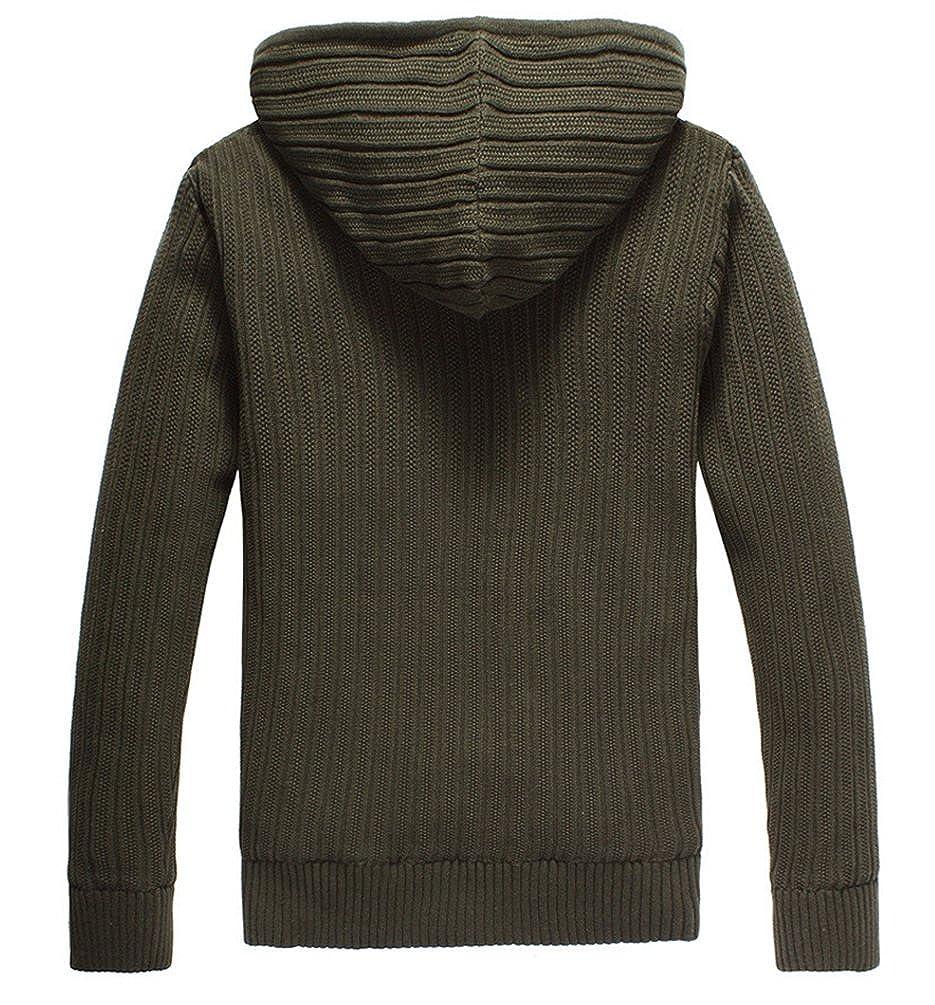 ZhiYuanAN Strickjacke Mit Kapuze Für Herren Warme Fleece Gefütterte  Cardigan Sweater Dicke Kunstpelz Gepolsterte Strickwaren Lässig Bequem Zip  Pullover ... 041c79b4f4