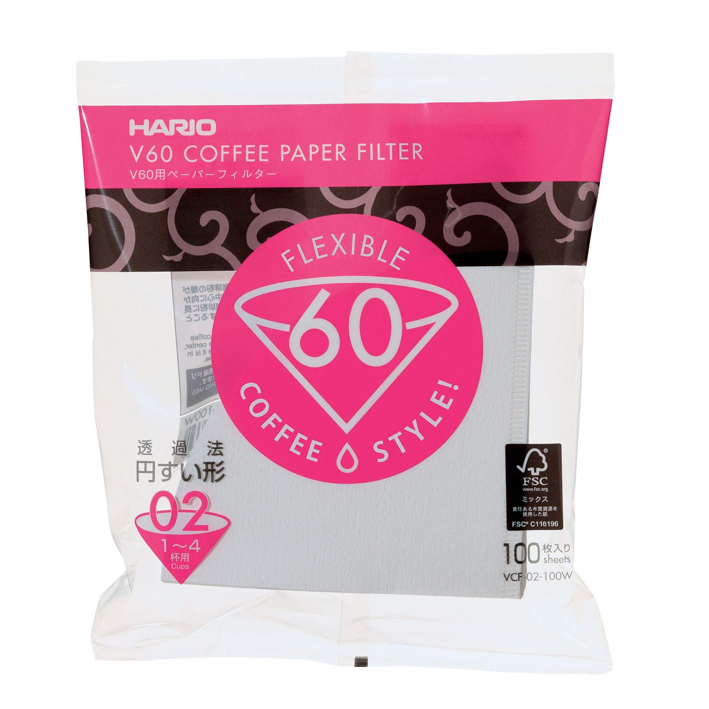 Hario V60 Paper Coffee Filters, Size 02, 100 Count, White VCF-02-100W