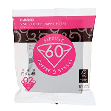 HARIO VCF-02-100W 100 Pieces 1-4 Cups of V60 for Paper Filter 01W (Japan Import)