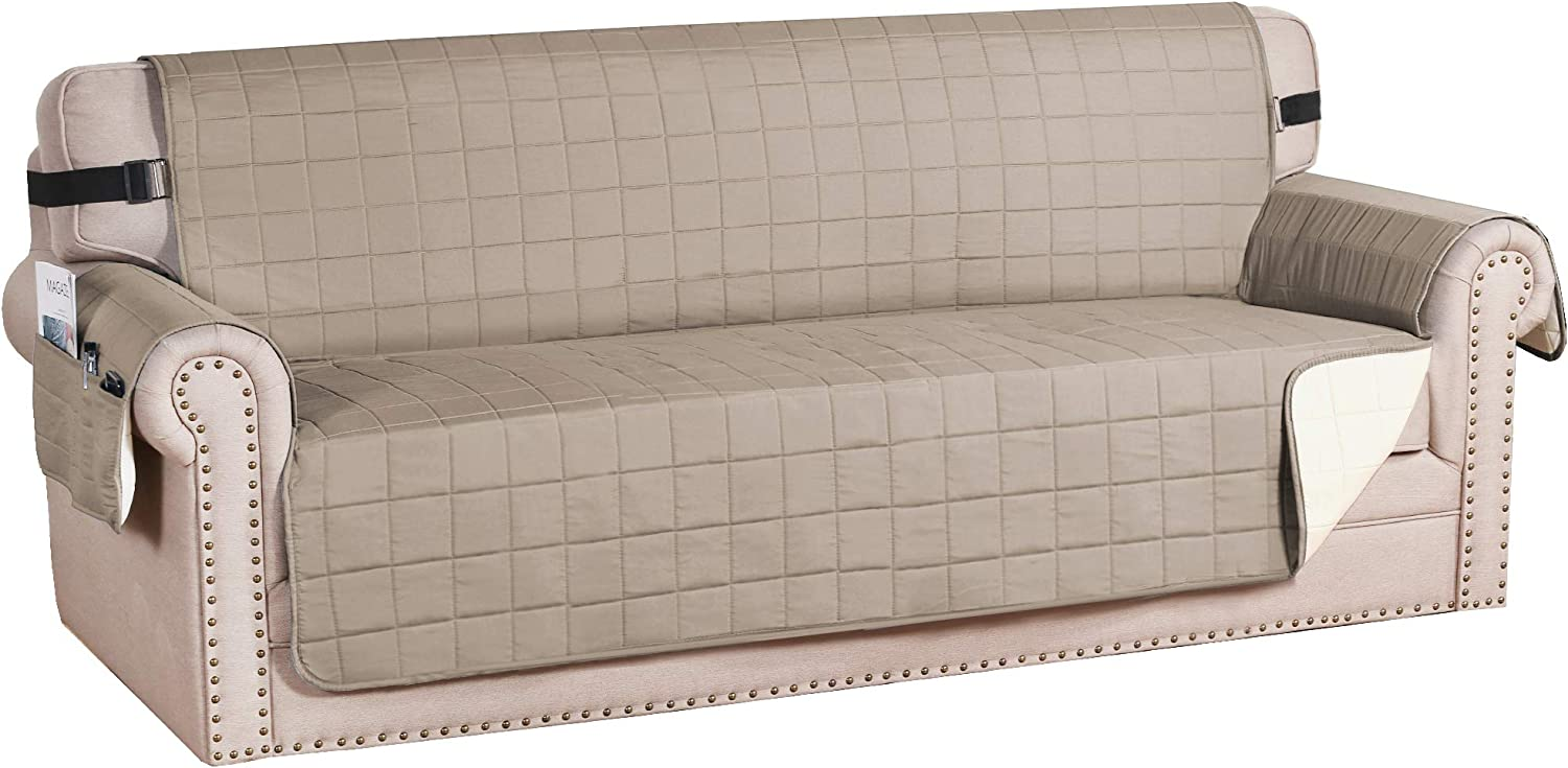 "H.VERSAILTEX Sofa Slipcover Reversible Couch Cover Foam Quilted Sofa Covers for Dog Water-Repellent Furniture Protector with Side Pocket Seat Width up to 70"" (Sofa, Khaki/Beige)"