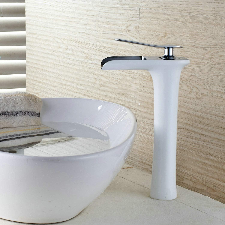 Robinet cascade haut corps simple poign/ée 1 lavabo /à montage en trou Lavabos vasque salle de bain robinets Peinture blanche Bec chrom/é Bassin chaud et froid Robinet mitigeur Leekayer