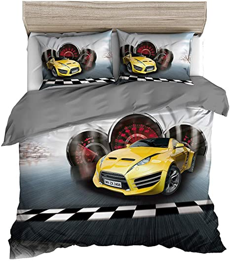 Queen 3D Printed Cool Speed Racing Car Automobile Style Kids Teen Boys Bedding Set No Comforter Inside 2 Pillowcases Orange Blue Abojoy Orange Sports Car Duvet Cover Set 1 Quilt Cover