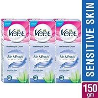 Veet Silk and Fresh Hair Removal Cream - 50 g (Sensitive Skin, Buy 2 Get 1 Free)