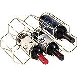 Lesige 金属製 ワインボトルホルダー ワインスタンド 積み重ね式 ワイン棚 9本用 ワインラック ワイン収納 シャンパンホルダー ワインストレージ 家飾り (ゴールド)
