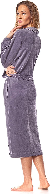 2035 Accappatoi da Bagno Morbido a Manica Lunga da Donna Estremamente Leggero Vestaglia a Maniche Lunghe con Cappuccio per Donna L/&L