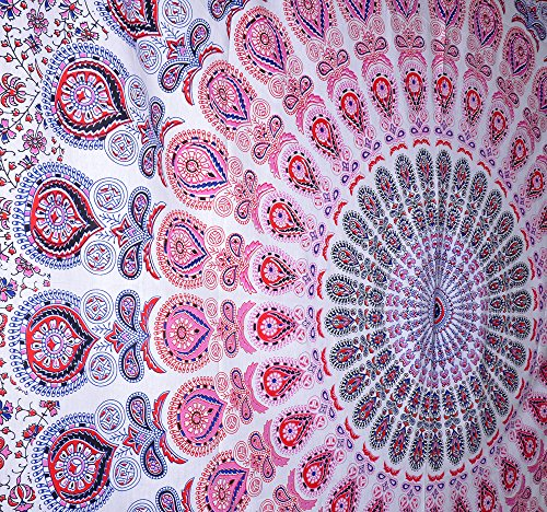 Peacock Mandala Tapestry, Indian Hippie Wall Hanging , Bohemian Bedspread, Mandala Cotton Dorm Decor Beach blanket ModTradIndia