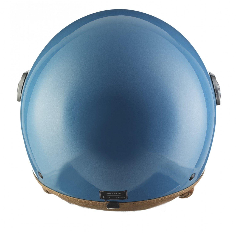 SOXON SP-325-MONO Crystal Blue /· Vintage Motard Cruiser Vespa Mofa Chopper Retro Moto Bobber Biker Casco Demi-Jet Urban Urbano Piloto Scooter /· ECE certificato /· compresi visiera /· compresi Sacchetto portacasco /· Blu /&mid