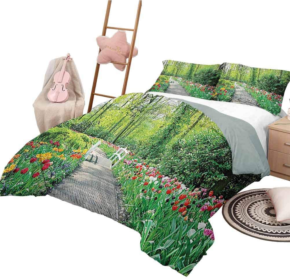 Quilt Cover Country Home Decor Collection Modern Pattern Bedding Set Tulips in Keukenhof Gardens Path Along Colorful Flowers Nature Picture Queen Size Crimson Pink White Red Green