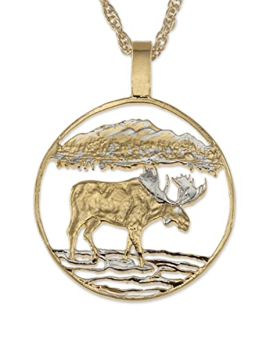 Moose pendant necklace canada 50 cents coin hand cut amazon moose pendant necklace canada 50 cents coin hand cut aloadofball Images