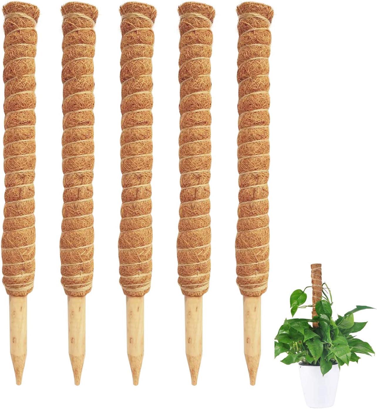 P&P 5 Packs 17.5 inch Coir Moss Totem Pole Coir Moss Stick Extension Poles for Climbing Plants, Coir Moss Totem Plant Support Sticks for Indoor and Outdoor Plants