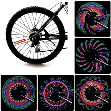 JAMSWALL Rueda del LED Luces para Rueda de Bicicletas 32 Leds Señal de Rueda de Bicicleta Sin batería: Amazon.es: Deportes y aire libre