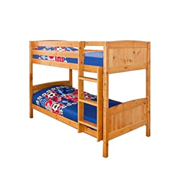 Comfy Living Christopher Pine Bunk Bed In Caramel 2 Mattresses