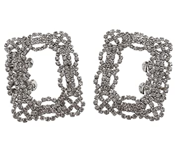 283ff7060 Image Unavailable. Image not available for. Color  2Pcs Bride Shoe Charms  Square Rhinestone Bridal Shoes Clips Wedding Dress Decor