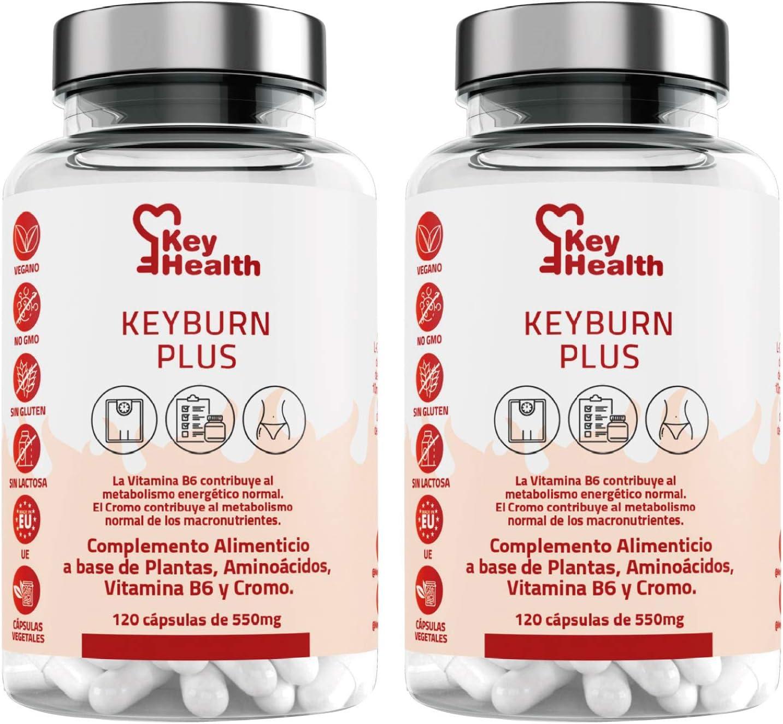 Key Health   Quemagrasas Potente KeyBurn   Complemento Alimenticio Termogénico para Adelgazar con L-Carnitina Guaraná Cafeína Te verde Vitamina B6   ...