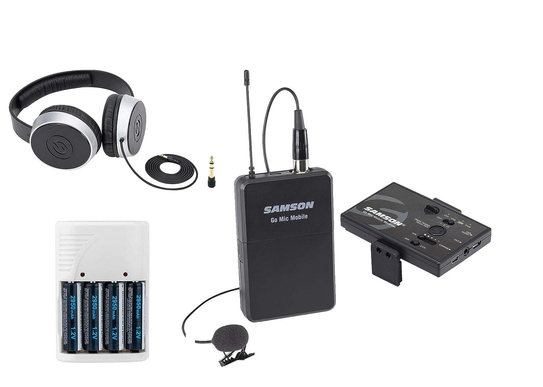 Samson Go Mic Mobile Digital Wireless System with LM8 Lavalier and Belt Pack Transmitter + Samson SR550 Over-Ear Studio Headphones + 4 AA Batteries & White Charger Samson Technologies