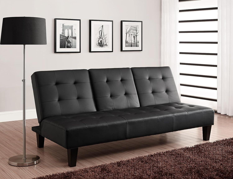 amazoncom dhp julia convertible futon with drink holder black  - amazoncom dhp julia convertible futon with drink holder black fauxleather kitchen  dining