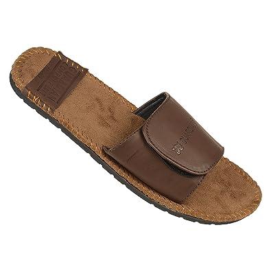 2a9508c367b135 DRUNKEN Men s Casual Stylish Velcro Brown Flip Flop Slide Sandal Size-10