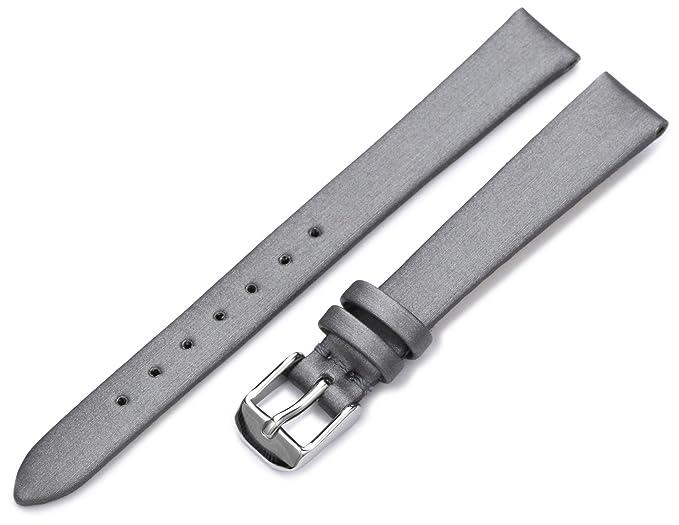 81d367738b1 Hadley-Roma Women s LSL978RW 140 14-mm Silver Satin Grained Leather Watch  Strap