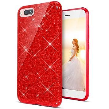 Coovertify Funda Purpurina Brillante Red Rose Xiaomi Redmi 6A, Carcasa roja Resistente de Gel Silicona con Brillo Rojo Rosa para Xiaomi Redmi 6A ...