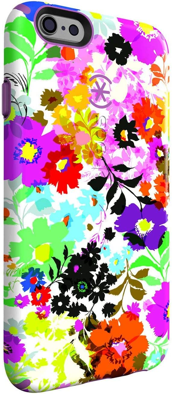 Speck CandyShell Inked iPhone 6/6s Plus Case, Bold Blossoms White/Revolution Purple