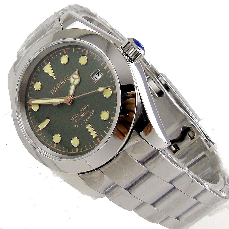 Parnis 40 mmコーヒーダイヤルサファイアガラスMiyota automatic movementメンズ腕時計Folding Clasp グリーン B07D6ZX264  グリーン