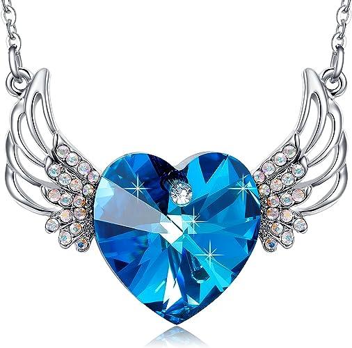 Nueva marca azul brillante corazón con elemento de cristal de Swarovski Collar Colgante para Mujer Regalo