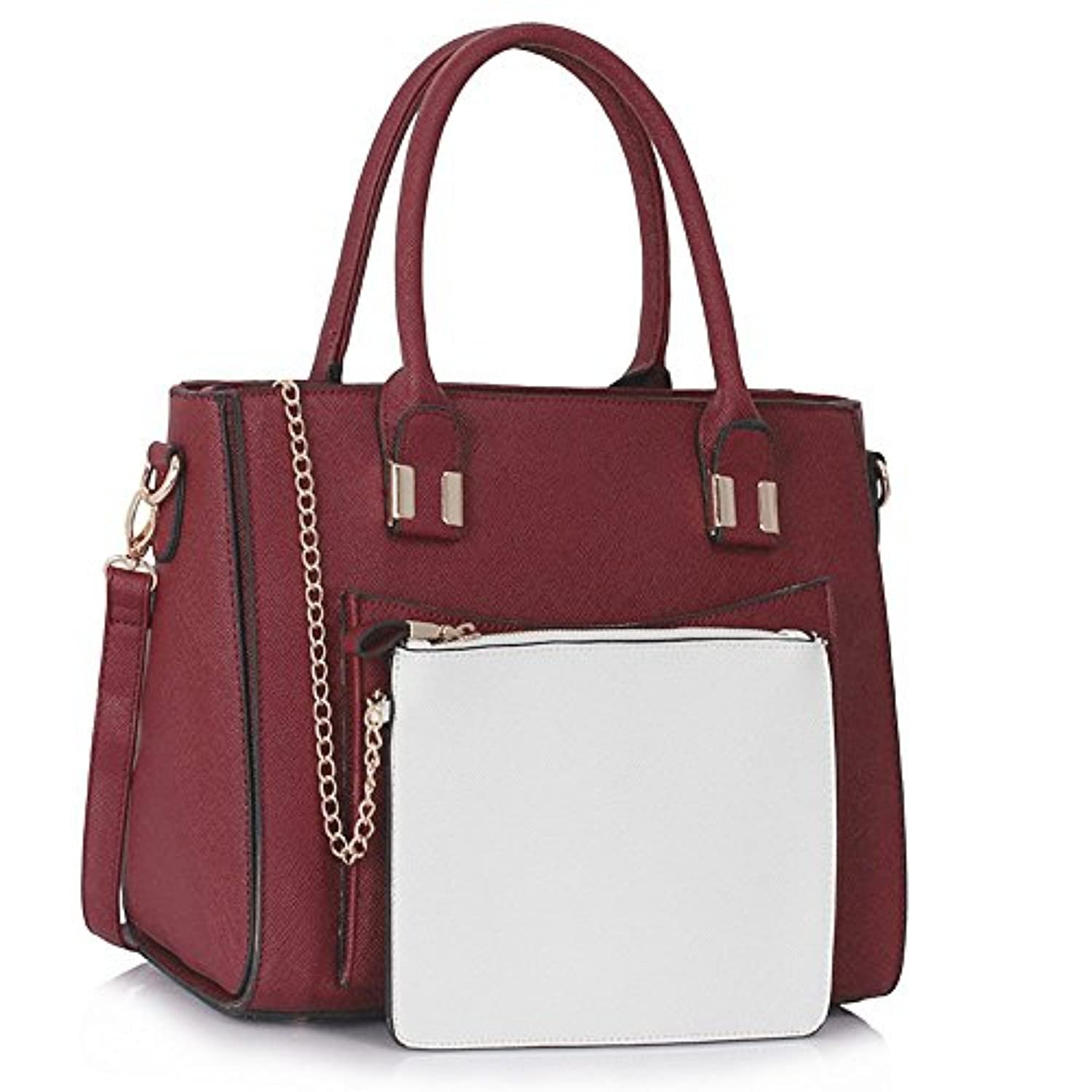 94c8896cd3 LeahWard Women s Celeb Style Tote Bags Ladies Handbags With Removable Pouch  Bag 313 (Purple Burgundy)  Amazon.co.uk  Shoes   Bags