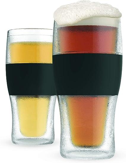 Host Freeze Beer Glasses 16 Ounce Freezer Gel Chiller Double Wall Plastic Frozen Pint Glass Set Of 2 Black Amazon Co Uk Kitchen Home