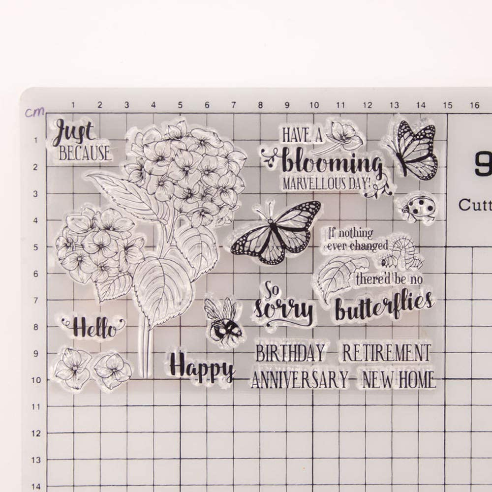 5.5 by 7.1 Inches Circle Shape Flower 2019 New Clear Rubber Stamps for Scrapbooking Card Making Christmas Clear Stamps