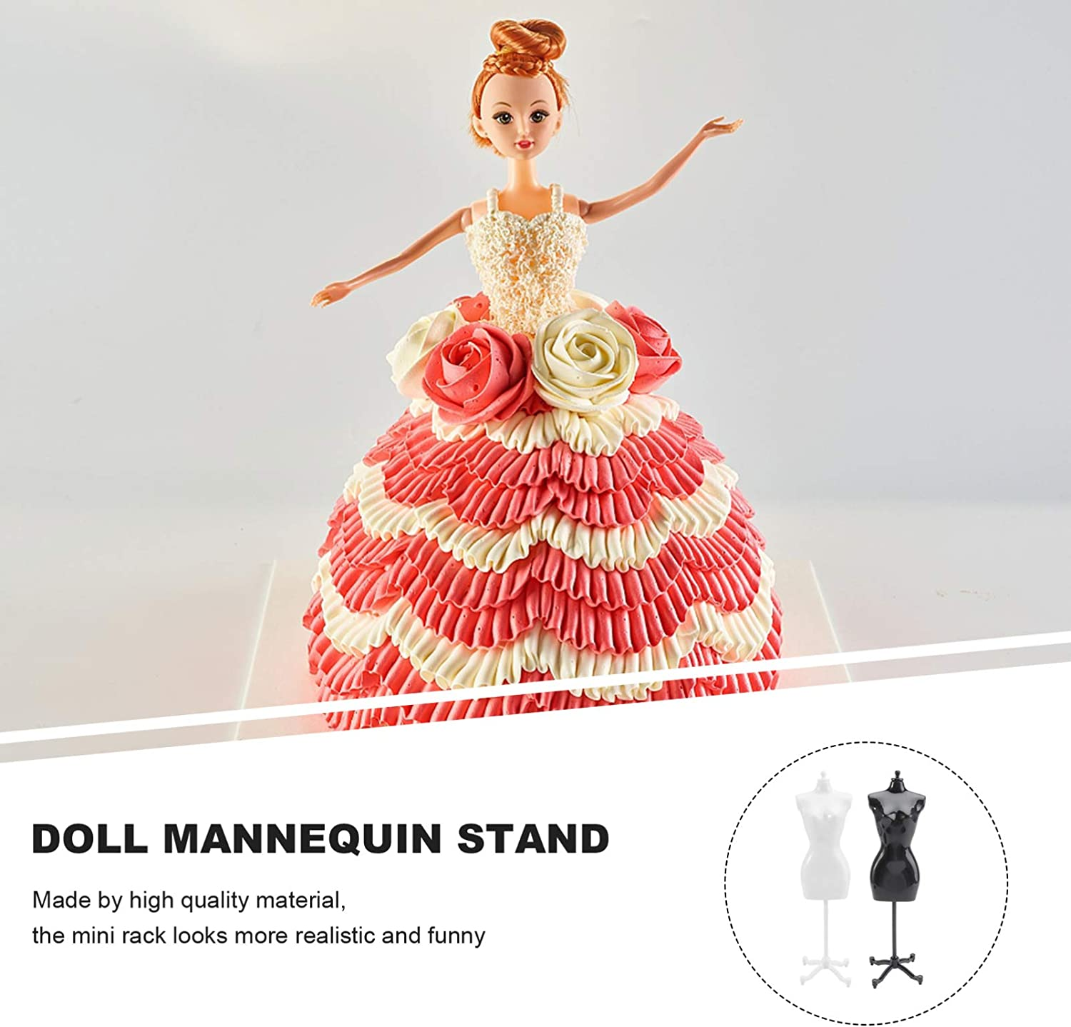 Black, White TOYANDONA 6Pcs Doll Dress Form Cloth Gown Creative Plastic Display Rack Mannequin Model Stand Accessories for Doll Dresses Doll Dress Form Cloth