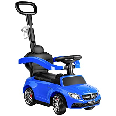 RUUF Push Car Blue, 3 in 1 Riding Toys with Cup Holder, Push Round Buggy with Safety Bar, Mercedes Benz Licensed Kids Ride on Car: Toys & Games