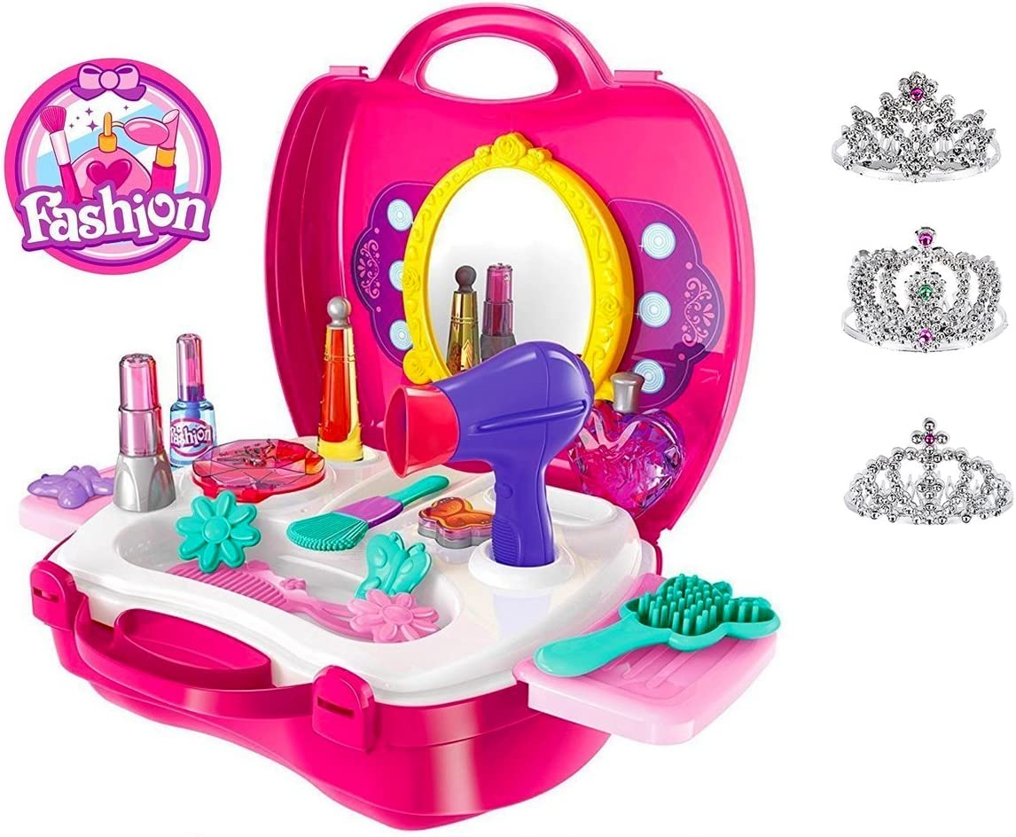 Pretend Play for Girls, 21 Pieces Vanity Set w/ Mirror +3 FREE Tiaras, Beauty Hair Salon Kit | Play Makeup Toys for 3 Years Old | No Chemicals, No BPA | Best Christmas & Birthday Gift for Preschoolers
