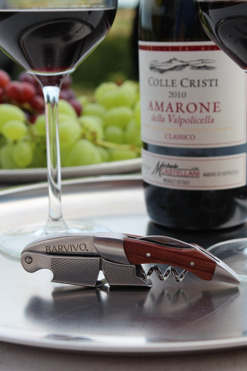 Professional Waiters Corkscrew by Barvivo - This Wine Opener is Used to Open Beer and Wine Bottles by Waiters, Sommelier and Bartenders Around the World. Made of Stainless Steel and Natural Rosewood. by Barvivo (Image #2)