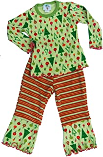 product image for Cheeky Banana Little Girls Christmas Top & Pants Set- Size 4t Lime/Fuchsia