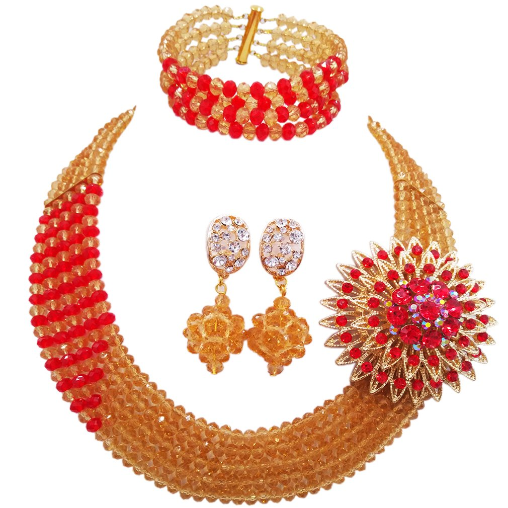 aczuv African Wedding Jewelry Set Nigerian Beads Necklace Bridal Jewelry Sets (Champagne Gold Red)