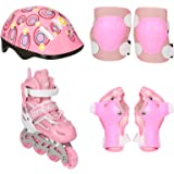Top Gear TG-9006 Skate Shoes with Protection Set, Pink/White