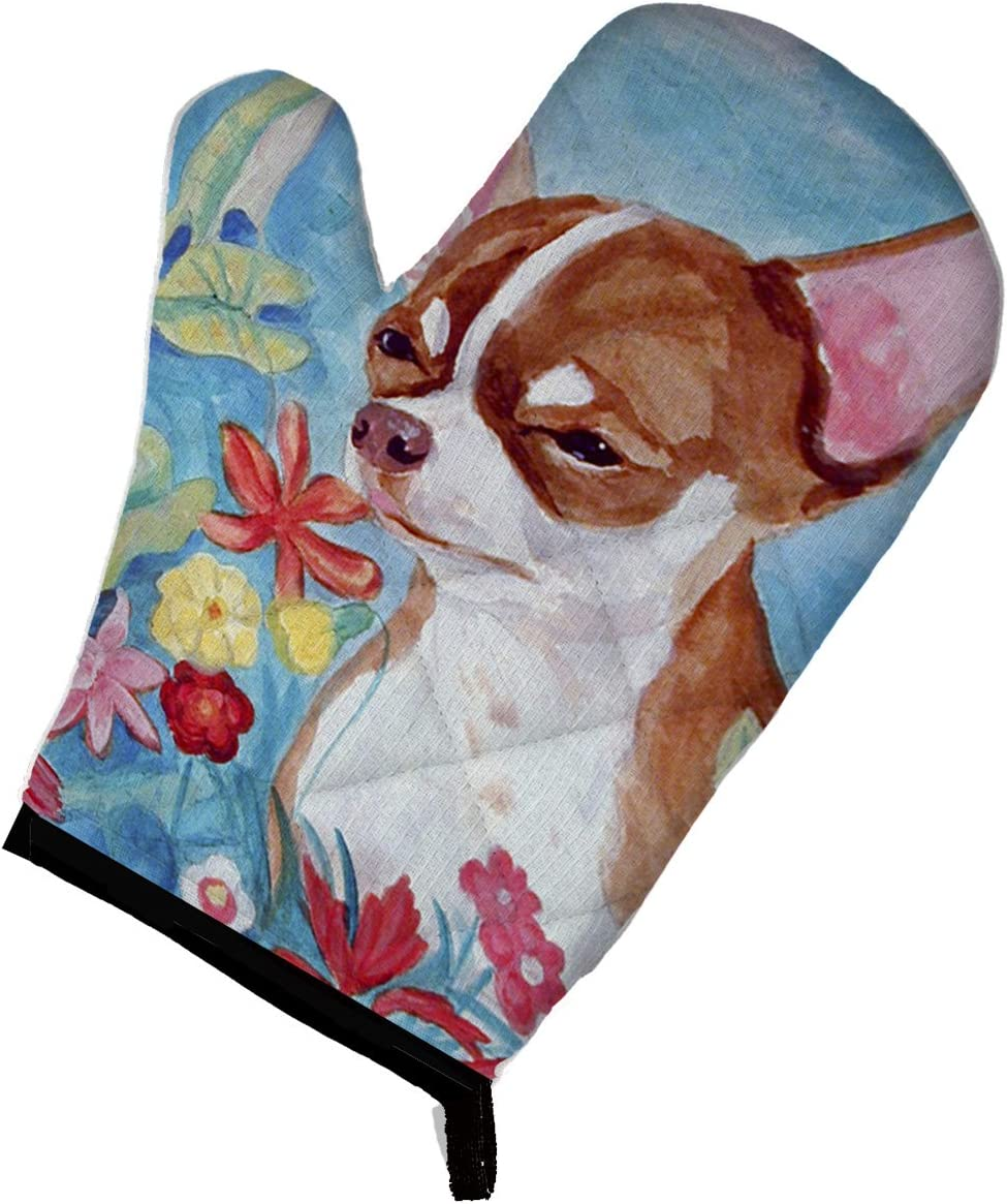 Caroline's Treasures 7053OVMT Chihuahua in flowers Oven Mitt, Large, multicolor