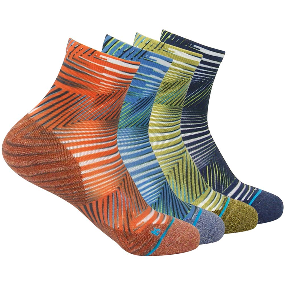 HUSO Men's Women's Stylish Moisture Wicking Arch Compression Ankle Quarter Socks 4 Pairs (Multicolor, L/XL) by HUSO