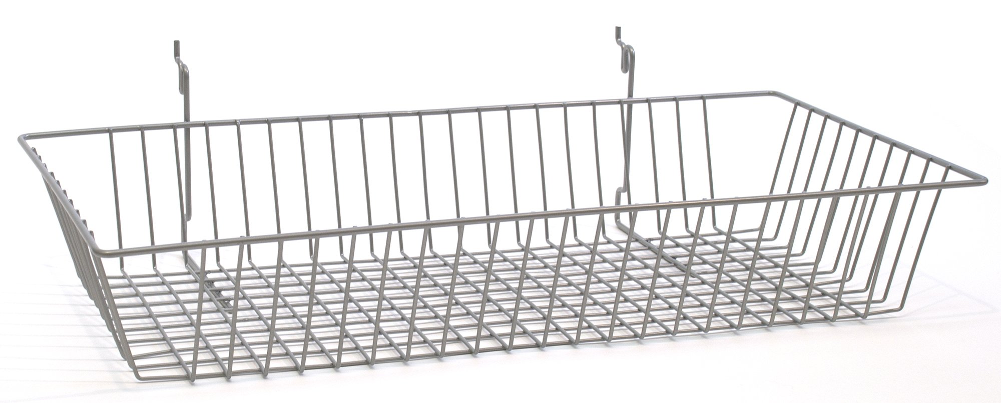 KC Store Fixtures A030103 Basket Fits Slatwall, Grid, Pegboard, 24'' W x 12'' D x 4'' H, Pc Chrome (Pack of 6)