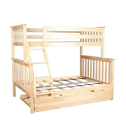 Max Lily Solid Wood Twin Over Full Bunk Bed With Trundle Natural