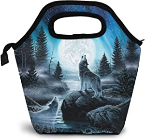 Wolf Lunch Bag Insulated Lunch Tote Space Moon Reusable Cooler Bag Handbag Lunchbox Food Container Warm Food Pouch for Boys Girls School Office Work Travel Outdoor Picnic