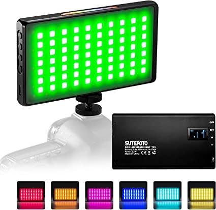 Fill Light Handheld Portable Small Live Photo Shooting SLR Camera Outside Shooting LED Color : Black
