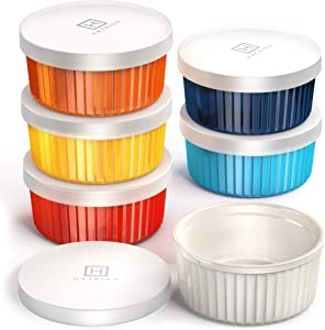 Hatrigo Porcelain Ramekins with Silicone Storage Lids, Set of 6 Assorted Colors, Ramekins 6 oz Oven Safe, 450 deg F, Dishwasher Safe