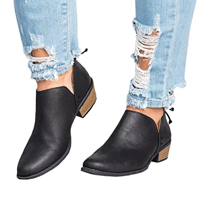 Womens Low Stacked Chunky Heels Ankle Booties Side Cut Out Pointed Toe Boots by