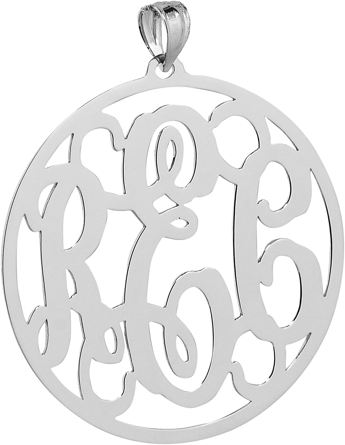 Soul Jewelry Solid 10k White Gold Round Circle Monogram Pendant 1 1//4 Inches Monogrammed 3 Initials