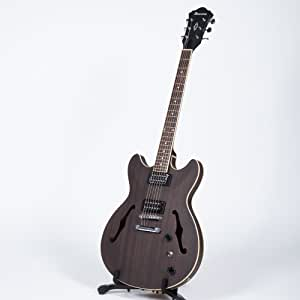 Ibanez 6 String Semi-Hollow-Body Electric Guitar, Right, Transparent Black Flat (AS53TKF)