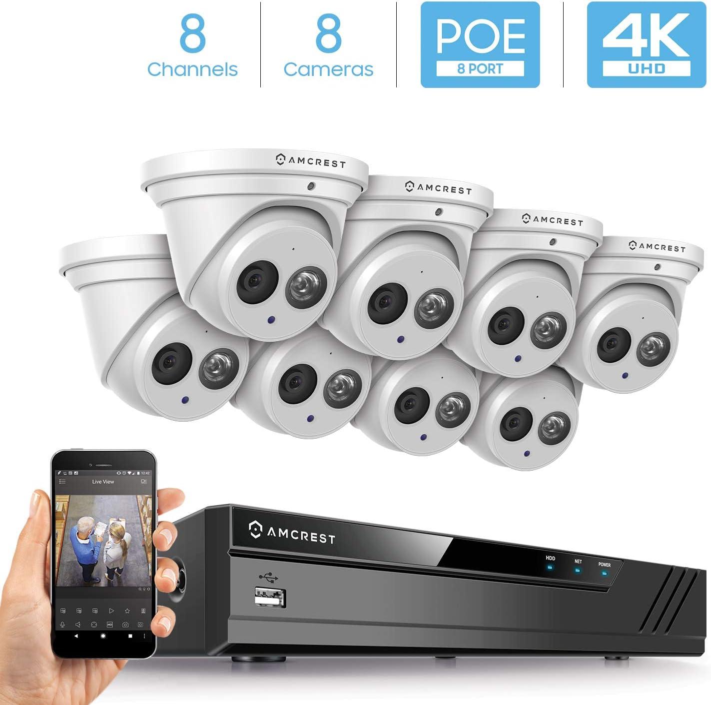 Amcrest 4K Security Camera System w 4K 8CH PoE NVR, 8 x 4K 8-Megapixel IP67 Weatherproof Metal Turret Dome POE IP Cameras 3840×2160 , 2.8mm Lens, NV4108E-IP8M-T2499EW8 White