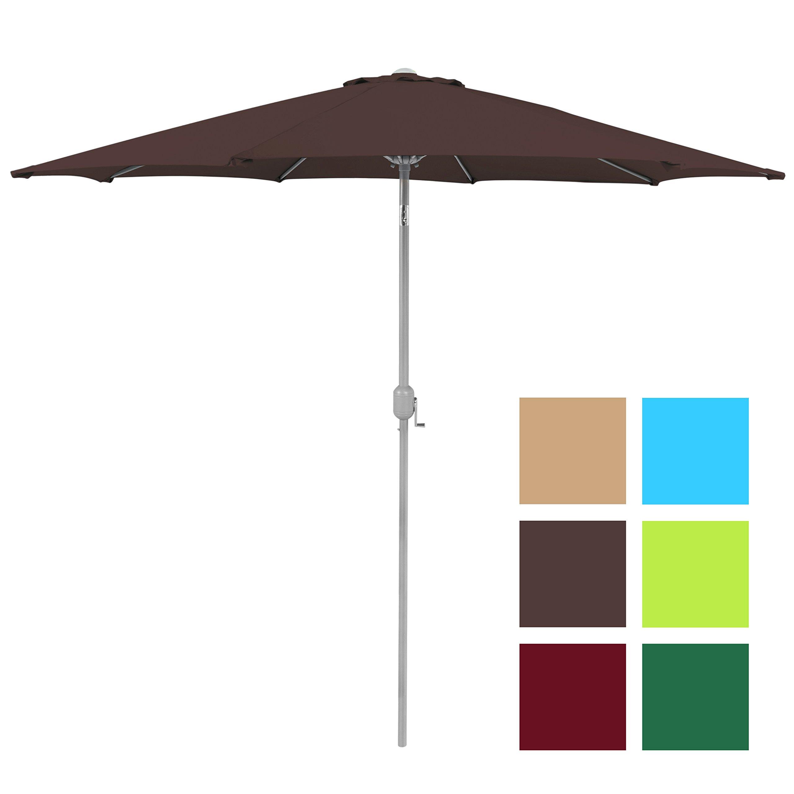 Best Choice Products Patio Umbrella 9ft Aluminum Outdoor Patio Market Umbrella w/Crank Tilt Adjustment - Brown
