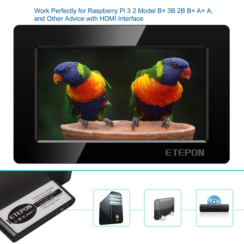 Pantalla 7 Pulgadas para Todo Dispositivo HDMI, ETEPON Monitor HDMI 1026 * 600 con Carcasa Ultradelgada para Raspberry Pi 3 2 Modelo B B+ A A+